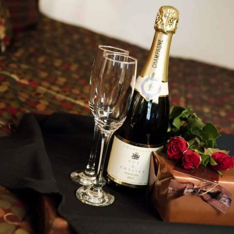 Brackenborough hotel champagne and flutes with gift