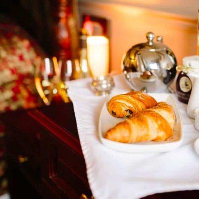 Brackenborough hotel breakfast beside the bed