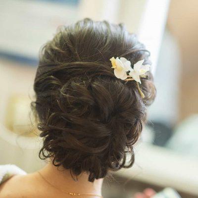 wedding hair tied up