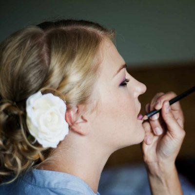 Wedding preparation getting lips done